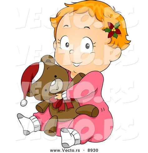 Pjhb85864 Pajamas Hug A Baby vector of a baby in pjs hugging a teddy on