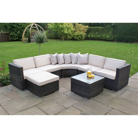 Curved Corner Sofa Curved Corner Sofa Set In Brown Or Grey By Out There Exteriors Notonthehighstreet