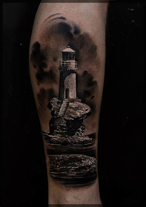 lighthouse on the rocks best tattoo design ideas