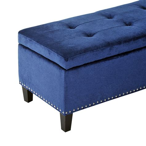 Homcom 42 Quot Tufted Fabric Ottoman Storage Bench Blue Tufted Fabric Ottoman
