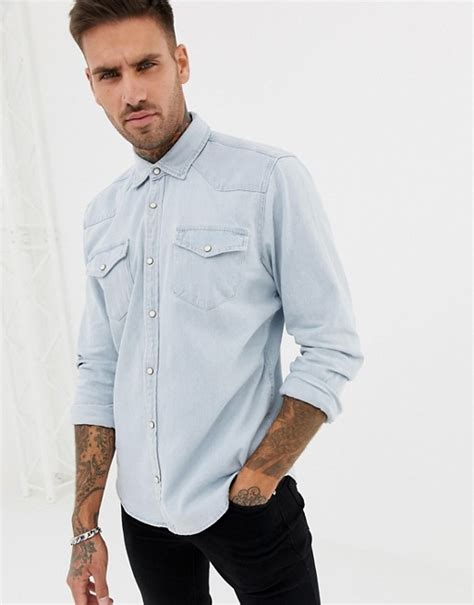 pull and pull and denim shirt with western pull pull denim western style shirt in blue