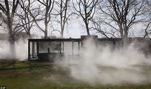 regeneration patterns and persistence of the fog dependent eerie fog installation by fujiko nakaya engulfs glass