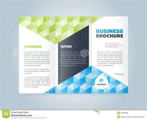trifold business brochure design template stock vector