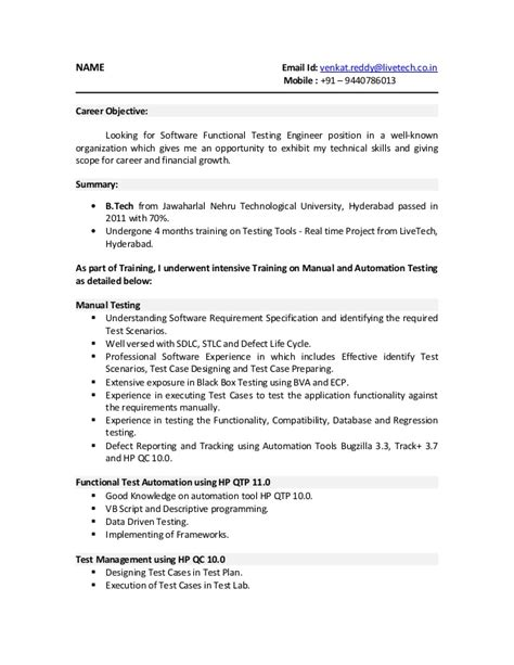 fresher resume sle for software sle resume for software testing freshers 28 images sle