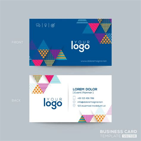 triangle shaped business card template simple corporate card with triangular geometric shapes