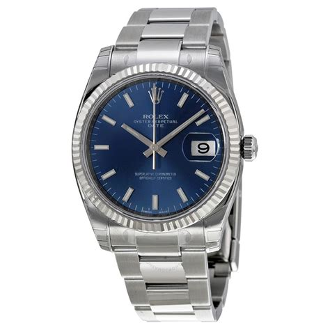 s date rolex oyster perpetual date 34 blue stainless steel