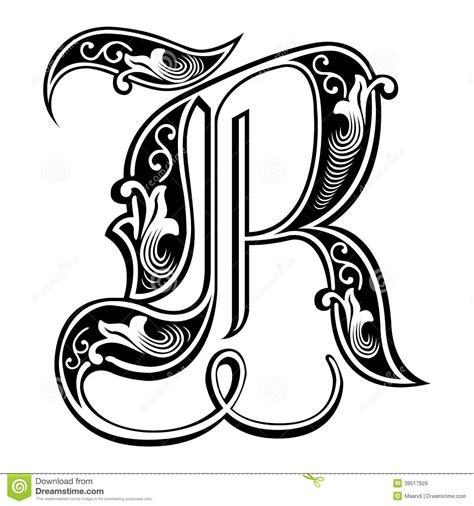 versierde gotische stijldoopvont brief r vector
