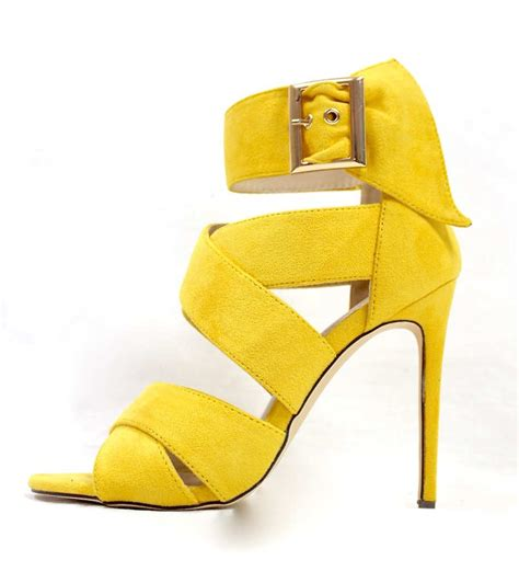 yellow high heel shoes barbara strappy yellow wowtrendz stiletto high heel