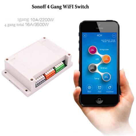 Sonoff Rail Mounting Wifi Smart Switch 4 Channel aliexpress buy itead sonoff 4ch 4 channel wifi switch din rail mounting wireless