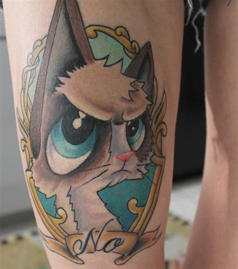 cartoon cat tattoo the gallery for gt cat portrait thigh