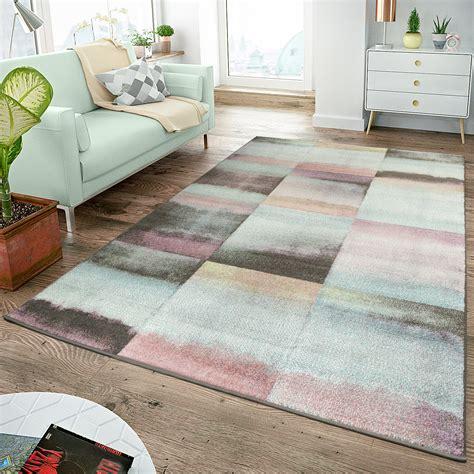 teppiche rosa moderner teppich wohnzimmer teppiche karos pastell t 252 rkis