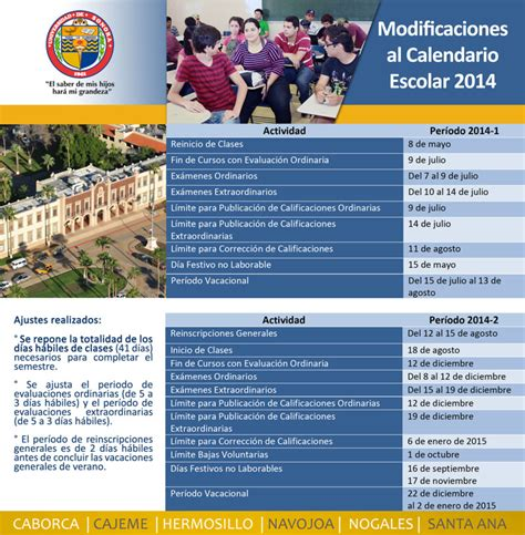 Calendario Unison 2017 Unison Artes Esc 233 Nicas Calendario Escolar 2014 2