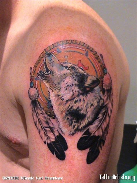 wolf dreamcatcher tattoos 37 marvelous catcher tattoos on shoulder