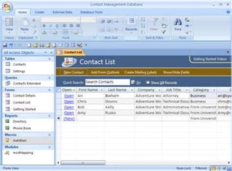 Use The Contact Management Access Database Template Access Microsoft Access Contact Database Template
