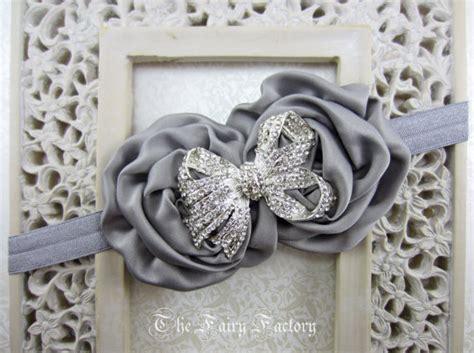 baby rosette 4 duo petal silver gray flower headband gray satin rosette duo w
