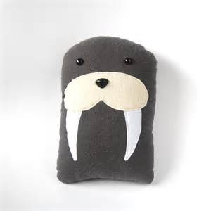 walrus plush stuffed animal pillow gray marine mammal sea