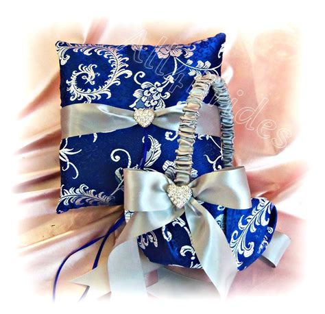 royal blue and silver grey wedding ring pillow and by