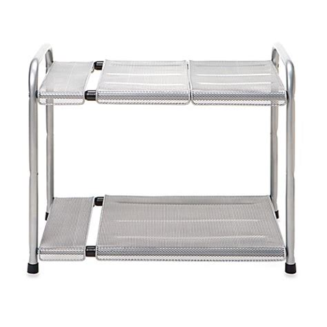 under sink adjustable shelves buy two tier expandable under the sink shelf from bed bath