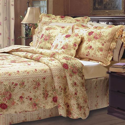 antique rose cotton floral quilt bedding set