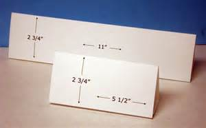 table tent cards horizontal format for inkjet or laser