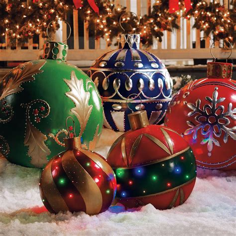 outdoor tree ornaments balls outdoor lighted ornaments the green