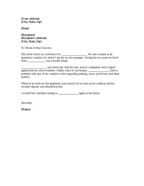 Reference Letter For Bad Tenant a template for a renter reference letter from a previous apartment manager office