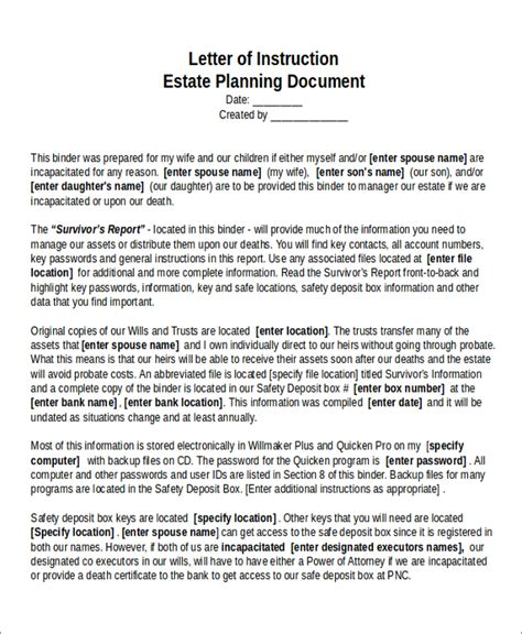 estate plan template a sle real estate investment