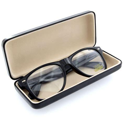 black clam shell for eyeglass sunglasses reading