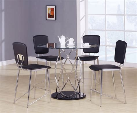 modern bar height dining table 5pc beverly mod chrome modern counter height dining table set