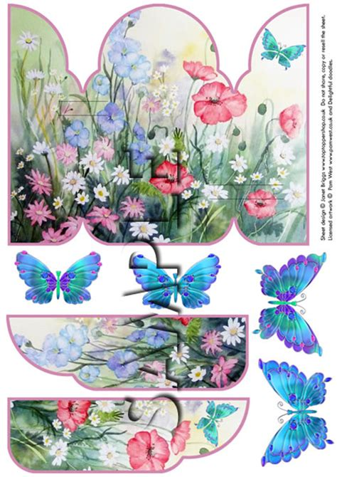 Free 3d Decoupage Sheets To Print - gatefold pop up decoupage card printed sheet