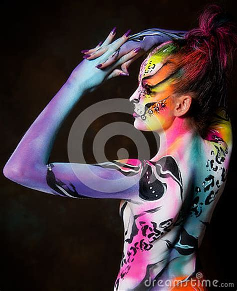 beautiful young female  full body paint royalty