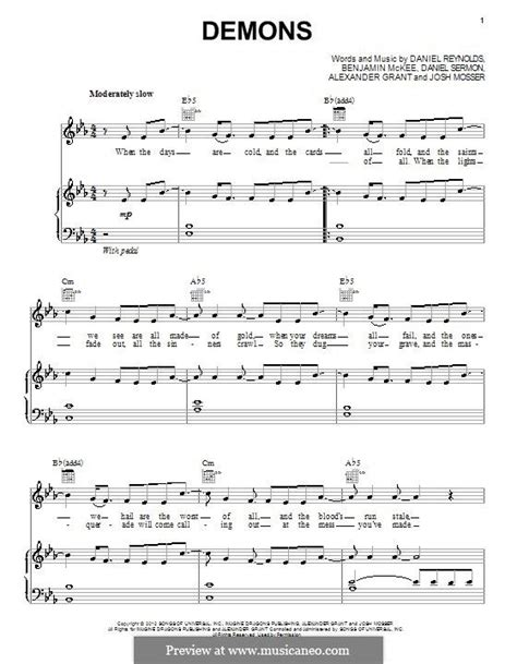 tutorial piano demons easy piano sheet music for demons instrumentation