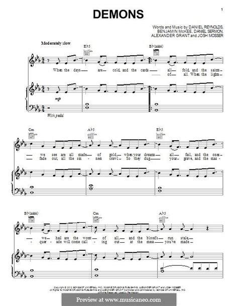 tutorial piano imagine dragons demons easy piano sheet music for demons instrumentation