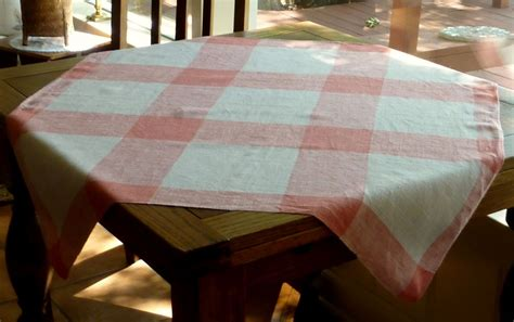 Small Table Cloth pink beige plaid small tablecloth from rarefinds on