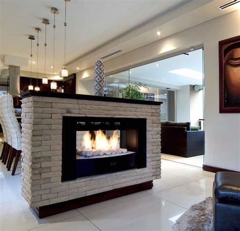 home styled   standing  sided fireplace open