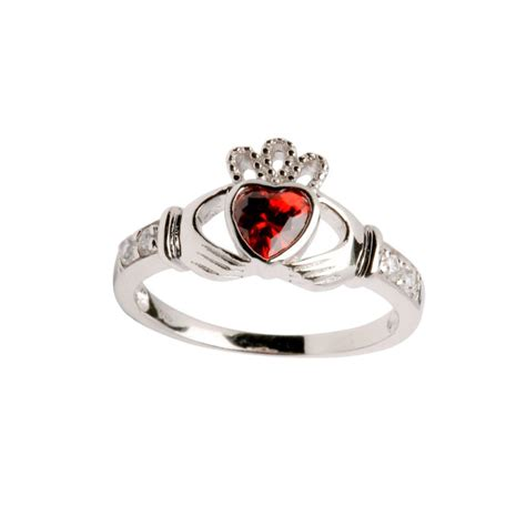 sterling silver birthstone claddagh ring january