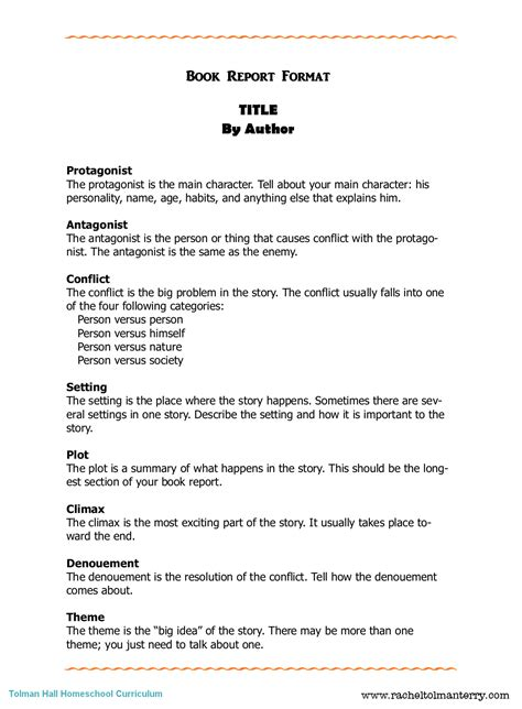College Book Report Template the book pound book report format
