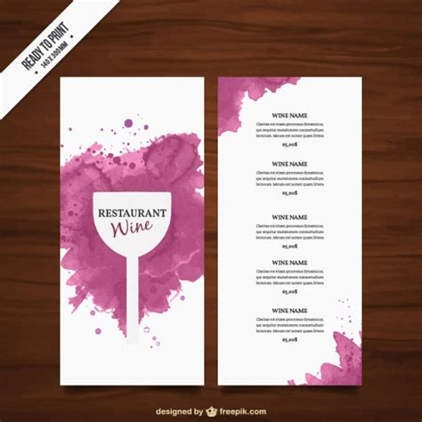 free wine menu template wine list template vector free