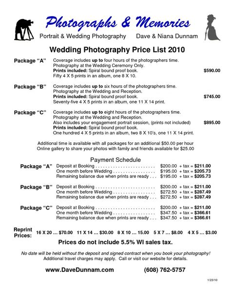 Wedding Photography Price List by 26 Best Images About Pricing Packages On