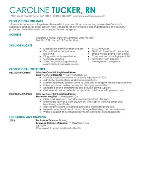 Resume Writing Unit Nursing Skills List For Resume Intensive Care Unit Registered Healthcare