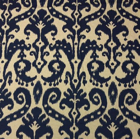drapery fabrics by the yard ballard designs venice ikat navy blue cream designer