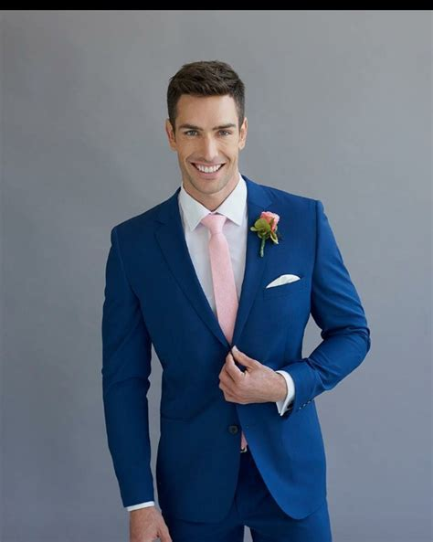 Peppers Formal Wear. Bright blue. Fitted wedding suit