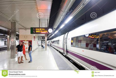 barcelona madrid train barcelona madrid train on the platform editorial