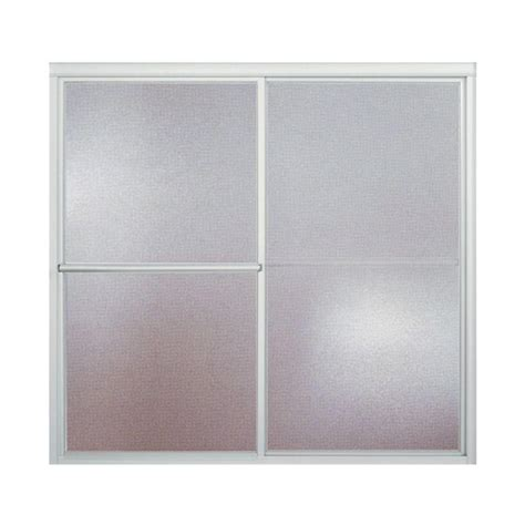 Glass Door Texture Sterling Deluxe 59 3 8 In X 56 1 4 In Framed Sliding Bathtub Door In Silver With Pebbled Glass