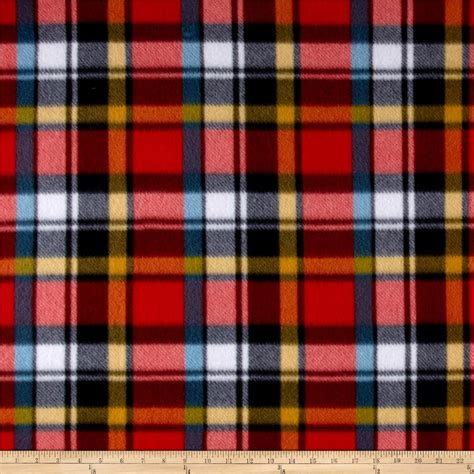 tartan print fleece plaid print multi discount designer fabric