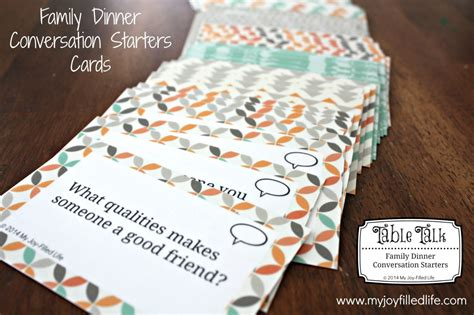 dinner conversation starters cards printable family dinner conversation starters cards my