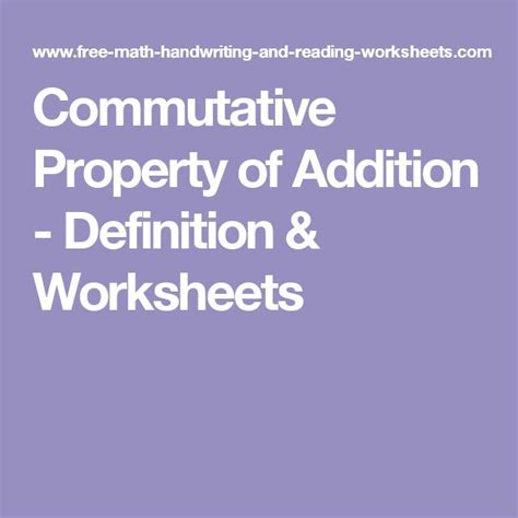 commutative property of addition definition worksheets