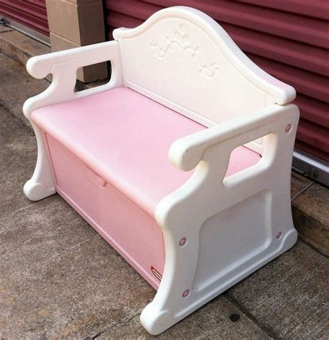 pink toy box bench vintage little tikes child full size blue victorian bench
