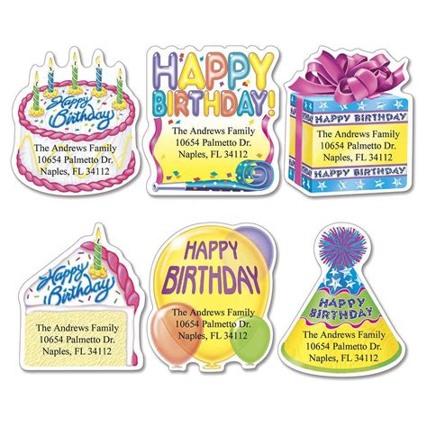 Birthday Lookup By Address Birthday Diecut Return Address Labels Colorful Images