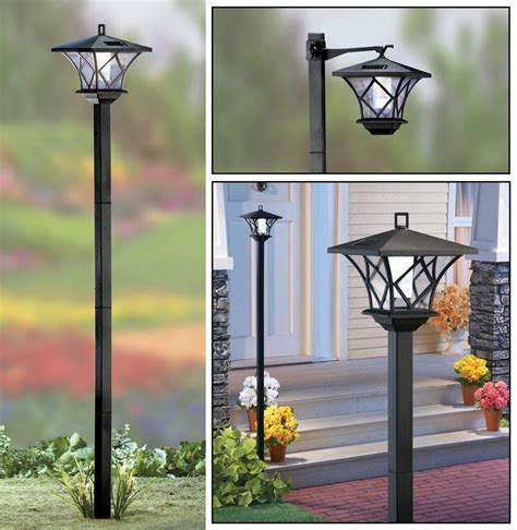 lantern post light outdoor 5 ft solar powered 2 in 1 outdoor garden lantern